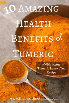 Here are 10 Amazing Health Benefits of Tumeric! Find out why you should be including this miracle spice in your diet every day! www.thehealthnutmama.com