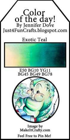 Just4FunCrafts and DoveArt Studios: Color of the Day 16 - Exotic Teal
