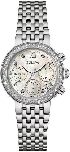 Zales Ladies' Bulova Diamond Accent Chronograph Watch with Mother-of-Pearl Dial (Model: 96R204)