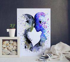 Liefde kiss Watercolor Art  vrouw man  aquarel door WatercolorMary
