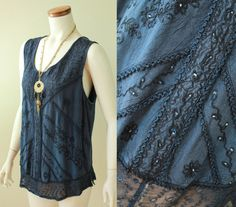 Vintage  90s  Ethnic  Navy Blue  Embroidered  by starlingdarlin, $26.00