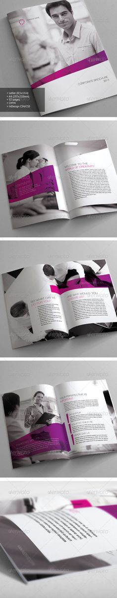 Brochure design #print #brochure #design I like the greyscale scheme with just a splash of one color. Maybe for my annual report?