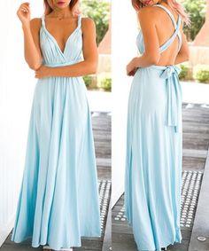 Sexy Sleeveless Self Tie Design Solid Color Convertible Women's Dress Maxi…