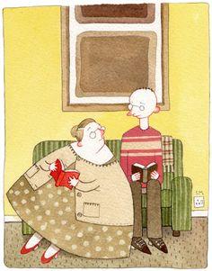 O que estás a ler? Curiosidade entre leitores. Ilustração de Sarah McIntyre