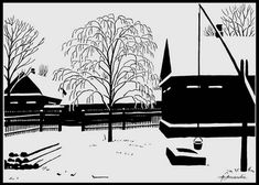 Ink Pen Drawings, Wikimedia Commons, Silhouettes, Free Images, Landscape, Art, Art Background, Scenery, Kunst