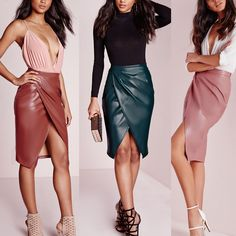 2016 Autumn Winter Women High Waist Soft PU Leather Skirt Pink Brown Sexy Hip Pencil Skirts Saias Femininas for Christmas Party Long Leather Skirt, Faux Leather Pencil Skirt, Pu Leather, Leather Skirts, Casual Skirt Outfits, Casual Skirts, Bodycon Midi Skirt, Dress Skirt, Bandage Skirt