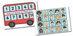 Maths Bus - not free, but an awesome idea. Counting Activities, Math Games, Teaching Math, Preschool Activities, Transport Topics, Self Registration, Bus Crafts, Early Years Classroom, Wheels On The Bus