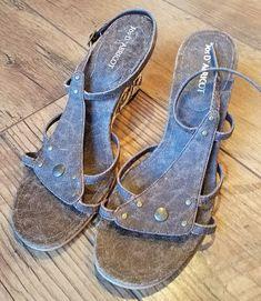 d76d21a7cc05 Jos D Abricot Distressed Brown Leather Stud Floral Hemp Wedge Sandal 39 8.5   fashion