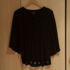 "Gorgeous black blouse 100% silk. Great condition.  Like new. ""Quo-ta-tion"" . Tops Blouses"