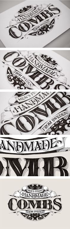 handmade combs - andreas ejerfors. amazing detail in this hand drawn typography!