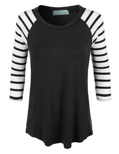 Look casual and trendy in this lightweight round neck striped raglan sleeve t-shirt. Made from a lightweight and super soft material, this t-shirt is comfy yet on trend. Pair it with skinny denim jean