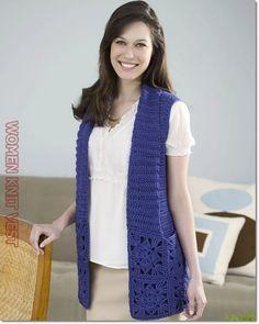 Woman Knit Vest 2020 – How do you wash knits in the washing machine – Sayfa 33 – Woman Style Red Heart Crochet Patterns, Crochet Jacket Pattern, Gilet Crochet, Crochet Motifs, Crochet Cardigan, Free Crochet, Knit Crochet, Crochet Vests, Crochet Sweaters