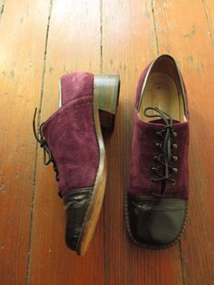 60's Vintage Hippie Mod Purple Two-Tone Oxfords All leather 8.5 by PaisleyBabylon on Etsy https://www.etsy.com/listing/292941193/60s-vintage-hippie-mod-purple-two-tone
