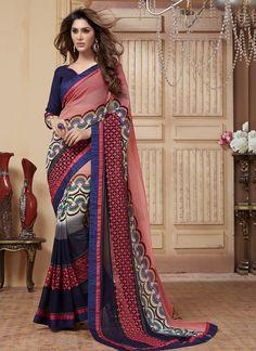 Subtle Georgette Multi Colour Designer Saree