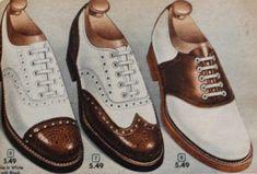 1950s mens shoes, 1952 mens saddle shoe (r), wingtip and cap toe two tone shoes.