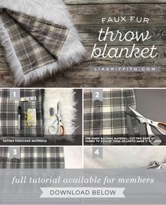 Faux Fur Blanket, Faux Fur Throw, Diy Throw Blankets, Craft Fur, Sewing Projects For Kids, Diy Projects, Sewing Pillows, Sewing Tips, Sewing Ideas