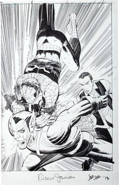 Original Comic Art:Splash Pages, John Romita Jr. and Klaus Janson Amazing Spi. Comic Book Pages, Comic Book Artists, Comic Book Characters, Comic Artist, Comic Books Art, Comics Spiderman, Batman Art, Marvel Dc Comics, John Romita Jr
