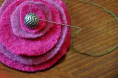 Upcycled Wool Sweater Flower