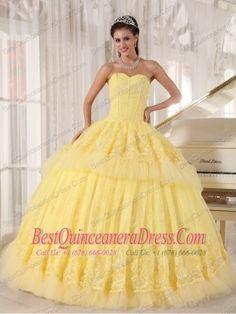 Yellow Ball Gown Sweetheart Floor-length Organza Appliques Sweet 16 Dress