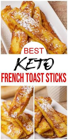 Check out these keto french toast sticks! EASY keto recipe for the BEST french toast sticks - 90 second microwave bread recipe. Low carb diet recipe for french toast u will want to eat - microwave recipe. Serve as keto desserts, keto snacks, sweet treats, Keto Desserts, Keto Snacks, Dessert Recipes, Breakfast Recipes, Recipes Dinner, Breakfast Bars, Carb Free Snacks, Atkins Snacks, Healthy Low Carb Snacks