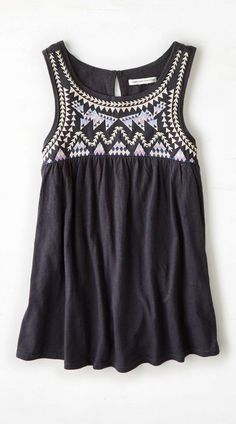 Black AEO Embroidered Swing Tank