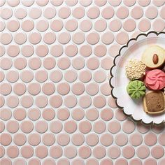 Fresh and sleek look, finished with 28mm pink ceramic mosaic, penny round shape. #mosaic #tiles #construction