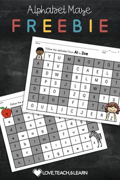 Review the alphabet with a simple and fun activity. Students can follow the alphabet with dot markers, game pieces, etc. No prep required. This PDF Includes : - 1 Lowercase Alphabet Maze (available in color or black and white) - 1 Uppercase Alphabet Maze (available in color or black and white) - 2 Answer Keys for Both Uppercase and Lowercase Teaching The Alphabet, Primary Teaching, Teaching Phonics, Alphabet Activities, Teaching Resources, Phonics Rules, Phonics Lessons, Uppercase Alphabet, Spelling Patterns