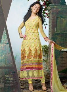 Amrita Rao In Yellow Designer Long Churidar Salwar Suit http://www.angelnx.com/Salwar-Kameez/Bollywood-Salwar