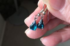 Teal Swarovski Crystal Earrings,  Aqua Earrings, Blue Earrings