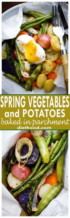 Spring Vegetables and Potatoes Baked in Parchment - Asparagus, snap peas, carrots and potatoes tossed with garlic and olive oil roast up to a deliciously moist and tender perfection inside parchment paper packs. A healthy, fast and real easy must-make-now Easter side dish!