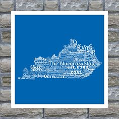Kentucky State Word Art Typography Print The Bluegrass State Kentucky State Pride ....they should spell mint julep correctly