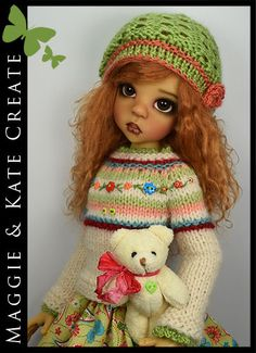 """SPRING Outfit + Teddy Bear for Kaye Wiggs 18"""" MSD BJD by Maggie & Kate Create"""