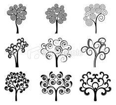 Oak Tree Drawings with Roots | Oak Tree Silhouette Tattoo Swirly tattoo. oak tree silhouette tattoo.