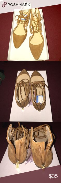 Jessica Simpson Flats Leather flats, worn once. Straps and zipper in the back. Like New! Jessica Simpson Shoes Flats & Loafers