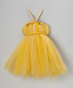 Take a look at this Bébé Oh La La Gold Tutu Dress & Braided Tie - Infant, Toddler & Girls on zulily today!