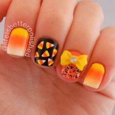 Fall-ready Nails with a Cute Yellow Bow Accent.                                                                                                                                                     More