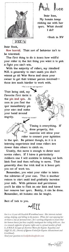 """Horse Nation's illustrious illustrator Morgane Schmidt is back this week with a horses-only advice column, """"Ask Icee."""""""