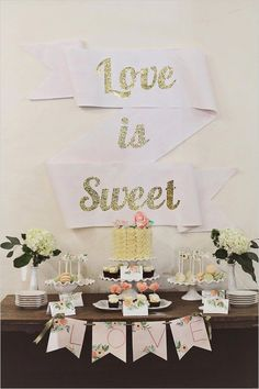 Love is sweet bridal shower decoration banner ideas. glitter letters on large folded construction paper, bridal shower ideas, decoration Cake Table Decorations, Bridal Shower Decorations, Decoration Table, Cute Wedding Dress, Fall Wedding Dresses, Diy Wedding, Wedding Ceremony, Wedding Ideas, Diy Dessert