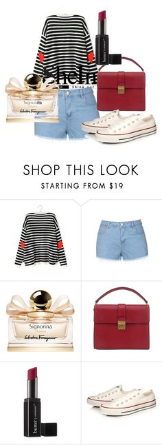 """Black White Long Sleeve Striped Heart Print Sweater"" by mardenec ❤ liked on Polyvore featuring Ally Fashion, Salvatore Ferragamo, Prada, Butter London and Converse"