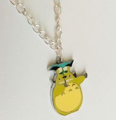 Green Totoro My neighbor umbrella charm chain necklace lime cute anime Jewelry