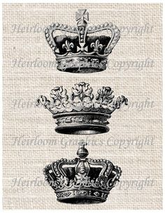 Corona de hierro en transferencia Digital Vintage Royal | Etsy Vintage Bee, Vintage Labels, Mothers Day Drawings, King And Queen Crowns, Foto Transfer, Queen Tattoo, Free Printable Gift Tags, Royal Crowns, Embroidery Monogram