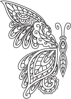 Embroidery Designs at Urban Threads - Mendhika Butterfly Can use it for quilling to Embroidery Stitches, Embroidery Patterns, Hand Embroidery, Machine Embroidery, Hardanger Embroidery, Mexican Embroidery, Embroidery Shop, Butterfly Embroidery, Colouring Pages