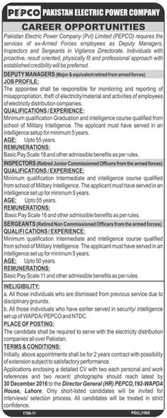 Pakistan Electric Power Company PEPCO Jobs December 2016 for Deputy Manager, Inspectors, Sergeants and Others