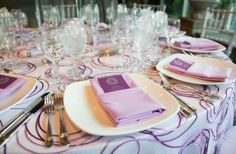 Purple custom Bat Mitzvah menu cards to match a purple themed Bat Mitzvah party. | MitzvahMarket.com