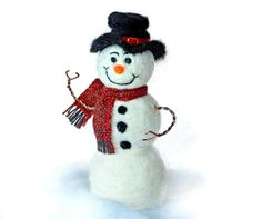 Needle felted Snowman with Handwoven wool scarf by AllMyCreations, $36.00