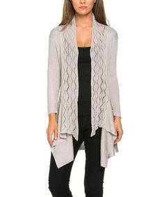 Another great find on #zulily! Light Gray Crochet Hi-Low Open Cardigan #zulilyfinds