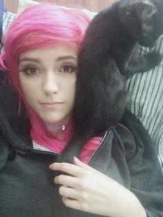 pink hair side bangs  #leda #muir #ledamonsterbunny