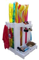 Pool Products, pool organizers, backyard pool products, pool toy organizer, pool toys, pool towel hooks, poolside item storage, pool float organizer and storage, clean up your pool deck with our poolside organizers.