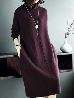 Women& knit dress with high neck long-sleeve solid color Women& knit dress with high neck long sleeves solid color solid color easy to wear loose dress- Dores. Winter Fashion Outfits, Modest Fashion, Hijab Fashion, Girl Fashion, Autumn Fashion, Fashion Dresses, Winter Dresses, Casual Dresses, Simple Dresses