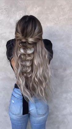 Long Ponytail Hairstyles, Work Hairstyles, Braids For Long Hair, Trendy Hairstyles, Hair Up Styles, Wedding Hair Inspiration, Brown Blonde Hair, Aesthetic Hair, Bridesmaid Hair